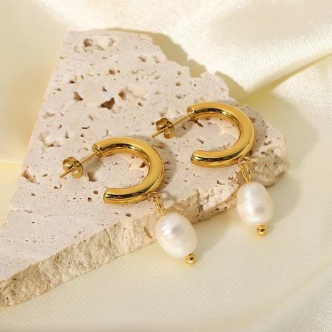 wholesale stainless steel C-shaped pearl pendant hoop earrings Nihaojewelry NHJIE401493's discount tags