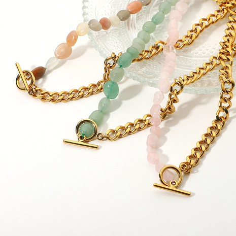 18K Stainless Steel OT Buckle Colored Natural Stone Beaded Necklace Wholesale Nihaojewelry NHJIE401495's discount tags
