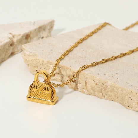 wholesale fashion 18K gold-plated stainless steel mini bag pendant necklace Nihaojewelry  NHJIE401497's discount tags