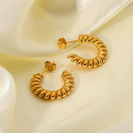 Wholesale Jewelry Spiral Twisted Stainless Steel Earrings Nihaojewelry NHJIE401498's discount tags