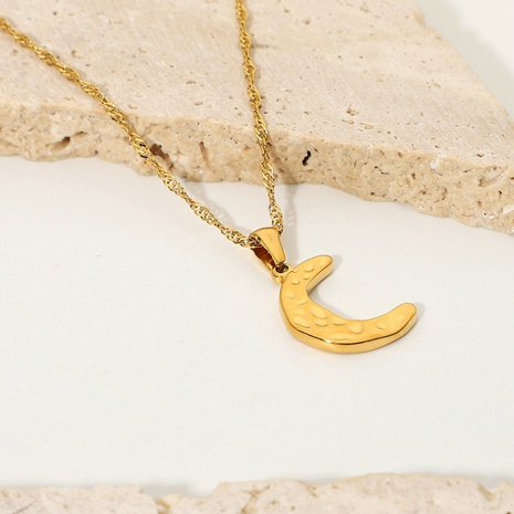 Wholesale Fashion 18K Gold Plated Stainless Steel Moon Pendant Necklace Nihaojewelry  NHJIE401501's discount tags