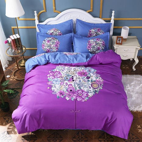 wholesale purple flower cluster printing brushed bedding four-piece set nihaojewelry  NHBWJ401540's discount tags
