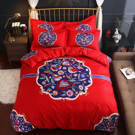 wholesale red geometric flower stripe printing brushed bedding four-piece set nihaojewelry  NHBWJ401542's discount tags