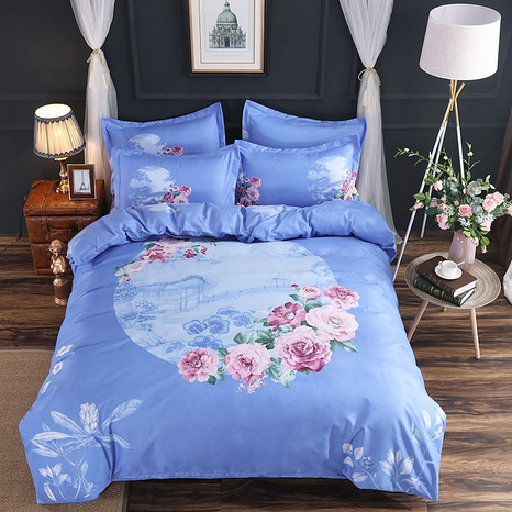 wholesale landscape painting floral printing brushed bedding four-piece set nihaojewelry  NHBWJ401544's discount tags