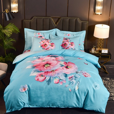 wholesale blue pink rose printing brushed bedding four-piece set nihaojewelry  NHBWJ401545's discount tags