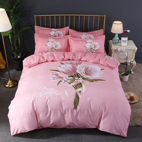 wholesale pink rose bouquet printing brushed bedding four-piece set nihaojewelry  NHBWJ401546's discount tags