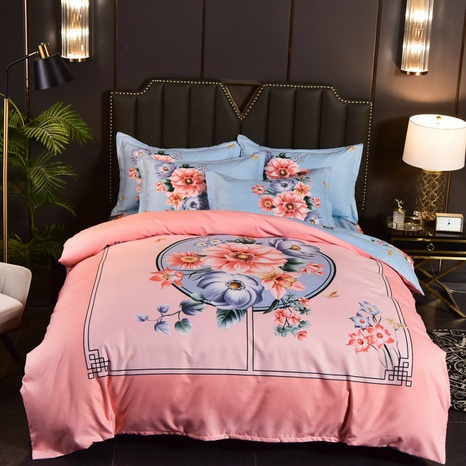 wholesale geometric pattern flower printing brushed bedding four-piece set nihaojewelry  NHBWJ401547's discount tags