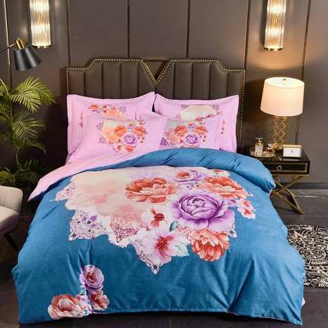 wholesale lotus printing brushed bedding four-piece set nihaojewelry  NHBWJ401548's discount tags