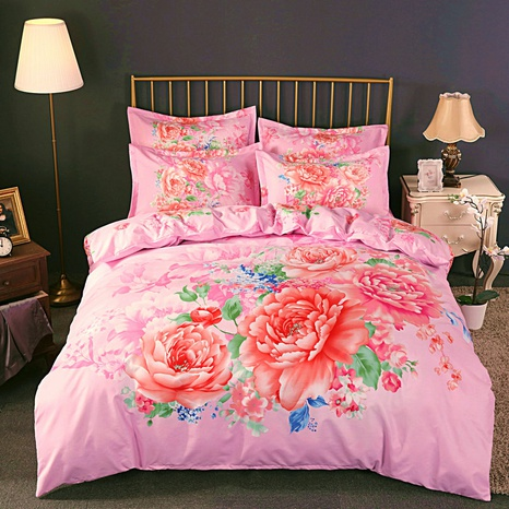 wholesale pink lotus printing brushed bedding four-piece set nihaojewelry  NHBWJ401549's discount tags