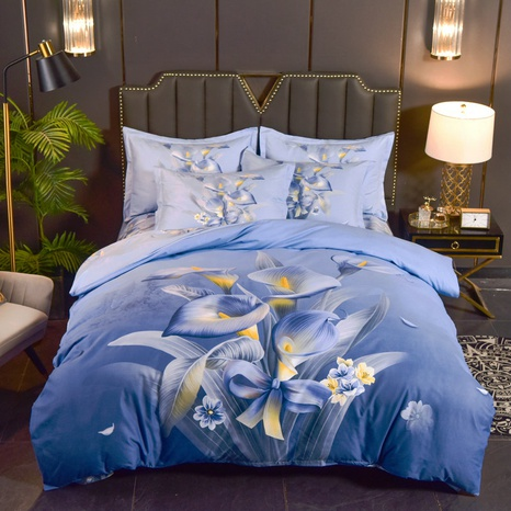 wholesale blue flower bowknot printing brushed bedding four-piece set nihaojewelry  NHBWJ401550's discount tags