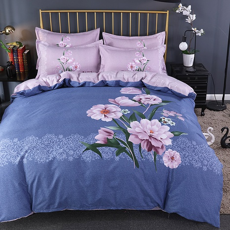 wholesale light purple printing brushed bedding four-piece set nihaojewelry  NHBWJ401551's discount tags