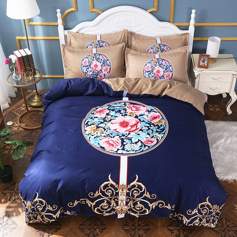 wholesale round golden border pattern flower print brushed bedding four-piece set nihaojewelry  NHBWJ401552's discount tags