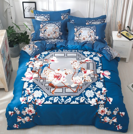 wholesale chinese window pattern plum blossom printing brushed bedding four-piece set nihaojewelry  NHBWJ401553's discount tags