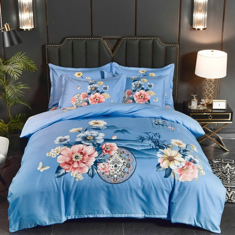 wholesale flower landscape painting printing brushed bedding four-piece set nihaojewelry  NHBWJ401554's discount tags
