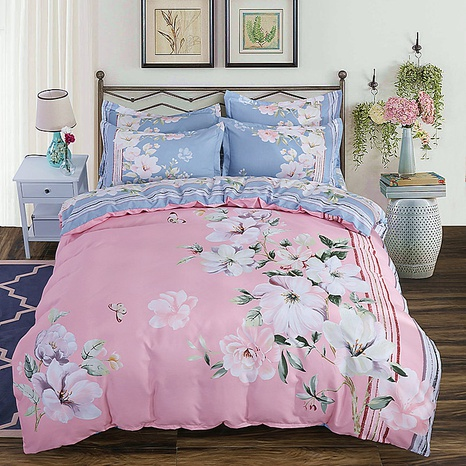 wholesale pink flower stripe printing brushed bedding four-piece set nihaojewelry  NHBWJ401555's discount tags