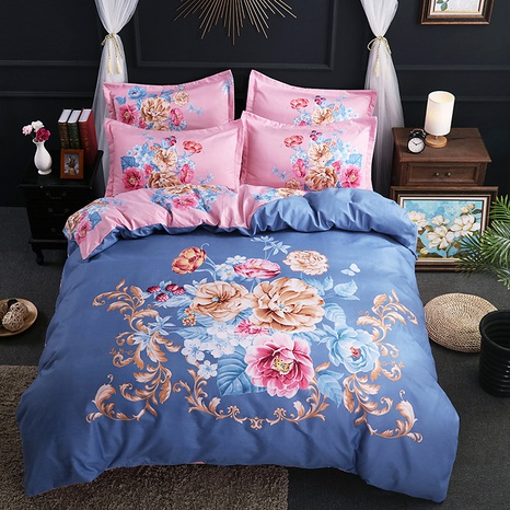 wholesale golden leaf flower printing brushed bedding four-piece set nihaojewelry  NHBWJ401556's discount tags