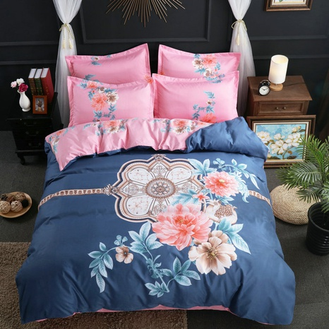 wholesale contrast color flower printing brushed bedding four-piece set nihaojewelry  NHBWJ401557's discount tags