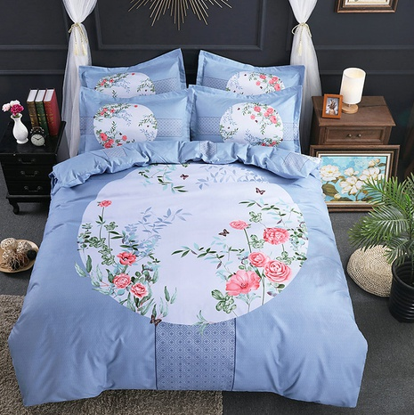 wholesale flower plaid printing brushed bedding four-piece set nihaojewelry  NHBWJ401558's discount tags