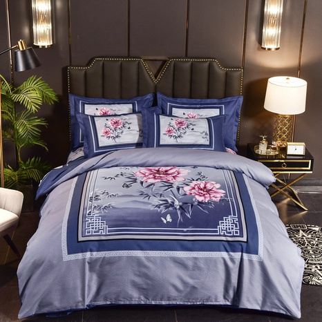 wholesale square border flower printing brushed bedding four-piece set nihaojewelry  NHBWJ401559's discount tags