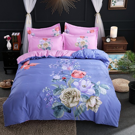wholesale multicolor flower butterfly printing brushed bedding four-piece set nihaojewelry  NHBWJ401560's discount tags