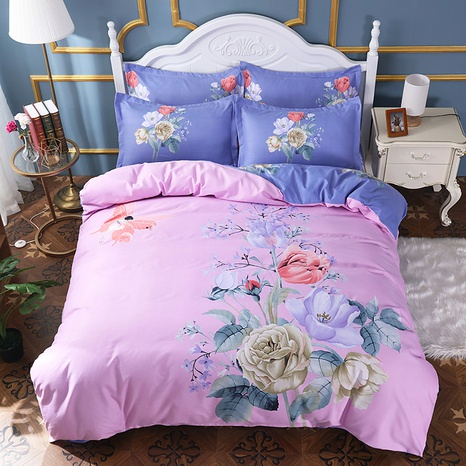 wholesale pink flower butterfly printing brushed bedding four-piece set nihaojewelry  NHBWJ401561's discount tags