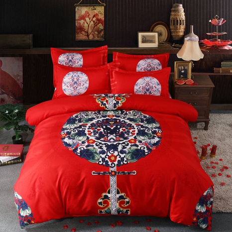 wholesale chinese flower window printing brushed bedding four-piece set nihaojewelry  NHBWJ401563's discount tags