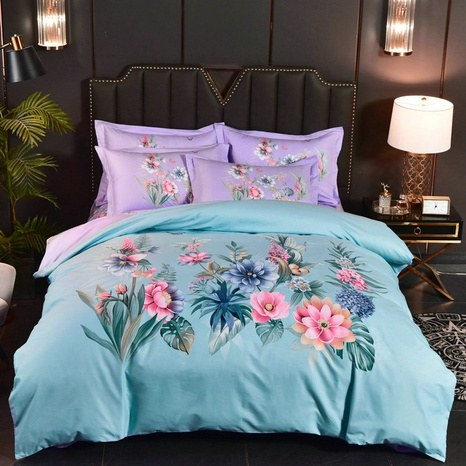 wholesale contrast color flower printing brushed bedding four-piece set nihaojewelry  NHBWJ401564's discount tags