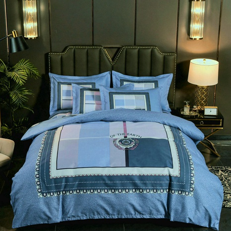 wholesale contrast color plaid printing brushed bedding four-piece set nihaojewelry  NHBWJ401565's discount tags