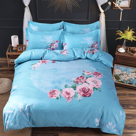 wholesale azure flower printing brushed bedding four-piece set nihaojewelry  NHBWJ401566's discount tags
