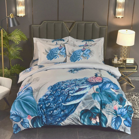 wholesale peacock printing brushed bedding four-piece set nihaojewelry  NHBWJ401567's discount tags