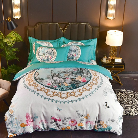 wholesale elk flower printing brushed bedding four-piece set nihaojewelry  NHBWJ401568's discount tags