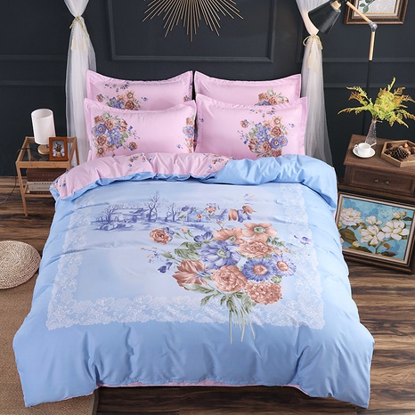 wholesale square lace border pattern flower printing brushed bedding four-piece set nihaojewelry  NHBWJ401569's discount tags