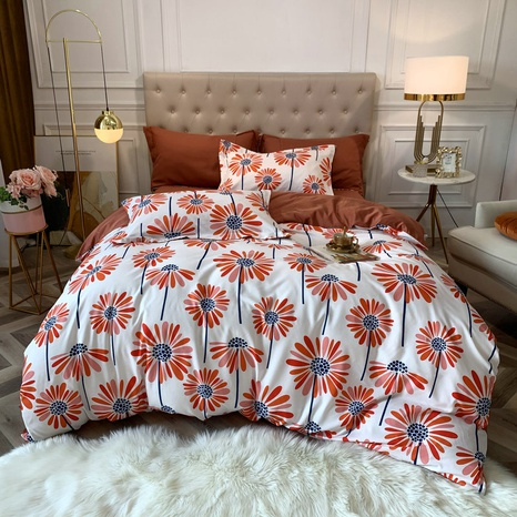 wholesale red dandelion printing brushed bedding four-piece set nihaojewelry  NHBWJ401591's discount tags
