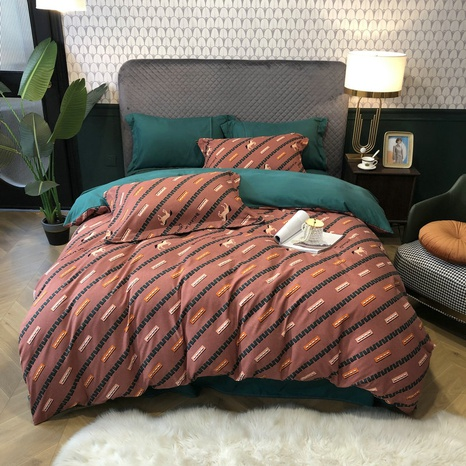 wholesale geometric stripe pattern horse printing brushed bedding four-piece set nihaojewelry  NHBWJ401592's discount tags