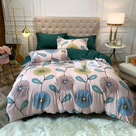 large version flower printing brushed bedding four-piece set wholesale Nihaojewelry NHBWJ401593's discount tags