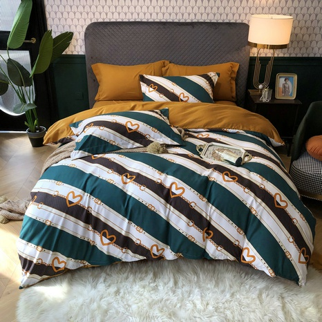 large version stripe printing brushed bedding four-piece set wholesale Nihaojewelry NHBWJ401594's discount tags