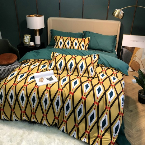 large version rhombus printing hit color brushed bedding four-piece set wholesale Nihaojewelry NHBWJ401595's discount tags