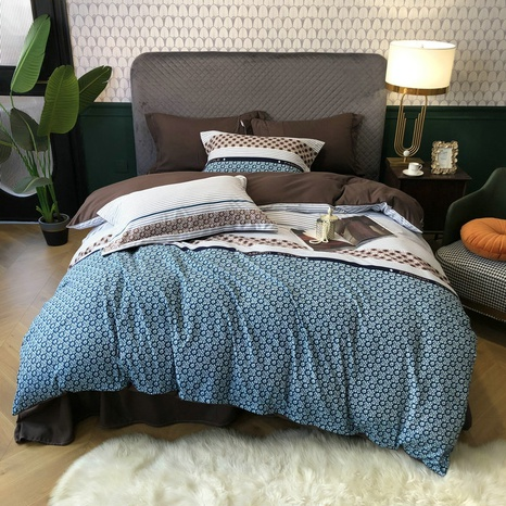 large version geometric hit color brushed bedding four-piece set wholesale Nihaojewelry NHBWJ401596's discount tags