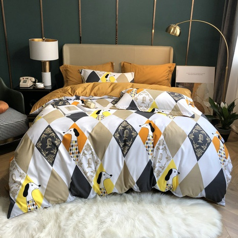 hit color rhombus animal printed brushed bedding four-piece set wholesale Nihaojewelry NHBWJ401584's discount tags