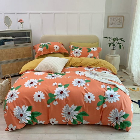 wholesale small white flower printing brushed bedding four-piece set nihaojewelry  NHBWJ401585's discount tags
