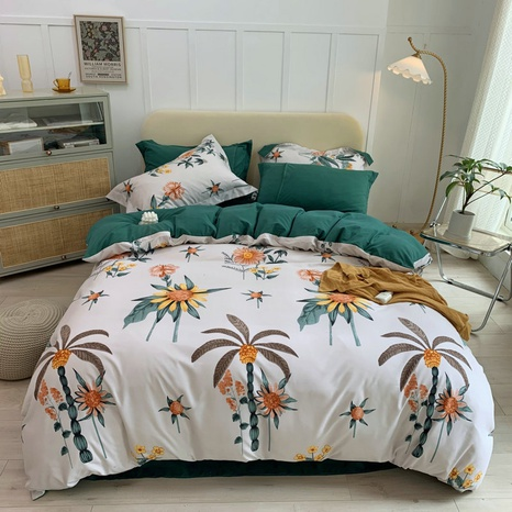 wholesale coconut tree sunflower printing brushed bedding four-piece set nihaojewelry  NHBWJ401586's discount tags