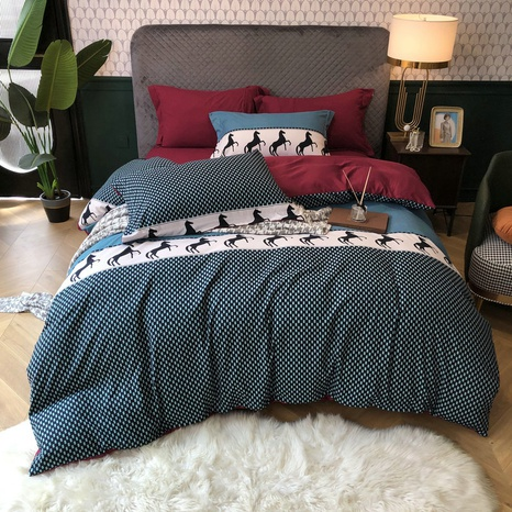 wholesale horse pattern square dots printing brushed bedding four-piece set nihaojewelry  NHBWJ401587's discount tags