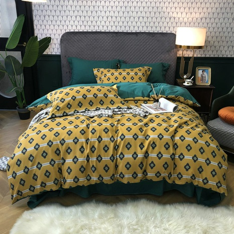 wholesale geometric stripe pattern printing brushed bedding four-piece set nihaojewelry  NHBWJ401588's discount tags