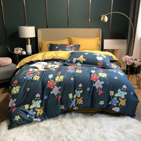 wholesale multi-color flower printing brushed bedding four-piece set nihaojewelry  NHBWJ401589's discount tags