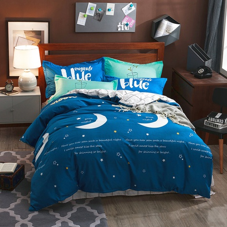 wholesale cartoon moon pattern printing brushed blue bedding four-piece set nihaojewelry  NHBWJ401590's discount tags