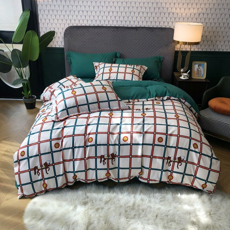 wholesale two color plaid horse pattern printing brushed bedding four-piece set nihaojewelry  NHBWJ401576's discount tags