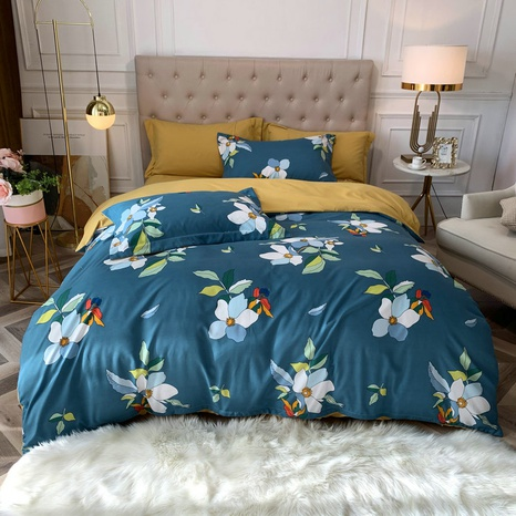 wholesale multicolor floral printing brushed bedding four-piece set nihaojewelry  NHBWJ401580's discount tags