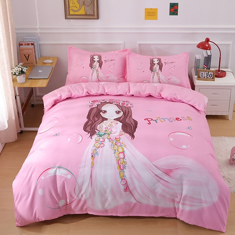 Cartoon hit color princess print brushed bedding four-piece set wholesale Nihaojewelry NHBWJ401582's discount tags