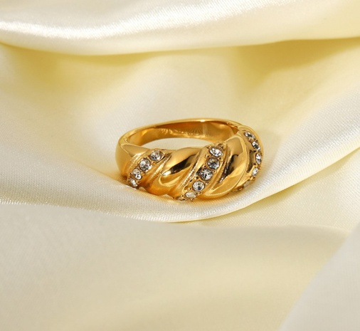 wholesale gold-plated twisted cubic stainless steel ring Nihaojewelry NHJIE401476's discount tags