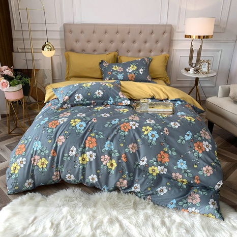wholesale contrast color flower branchs printing brushed bedding four-piece set nihaojewelry  NHBWJ401575's discount tags